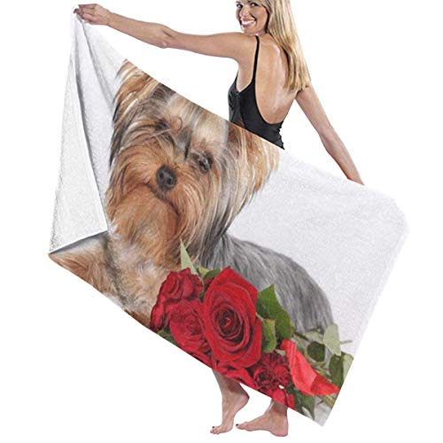 Toallas Shower Towels Bathroom Towels Toalla de playa multiusos Roses and Little Dog Super Water Beach Towels 80X130CM