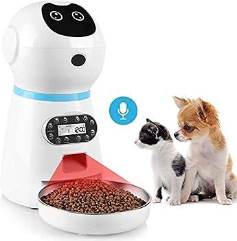 Distributeur Croquettes Chat Automatique, 3,5 L Distributeur de Nourriture avec Enregistrement Vocal pour Chats et Chiens, LCD Écran, 4 Repas, Batterie ou Adaptateur Secteur