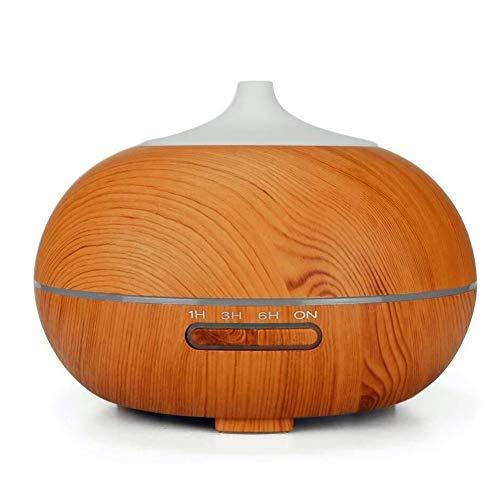 LUO'S Luftbefeuchter 300ml Ultraschall Kalter Nebel Luftbefeuchter, Holzmaserung Aroma Luftbefeuchter, Led-Nachtlicht, 4 Timer-Einstellungen Und Wasserlos Auto-Off, Haushaltsluftreiniger