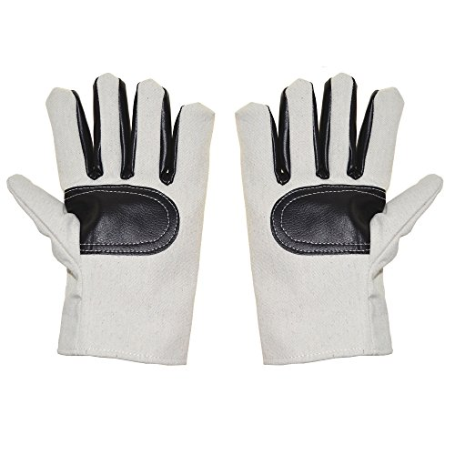 Safety Work Gloves Double Thick Canvas Cut Resistant Sweat absorption Clip Leather Gloves,1 Pair