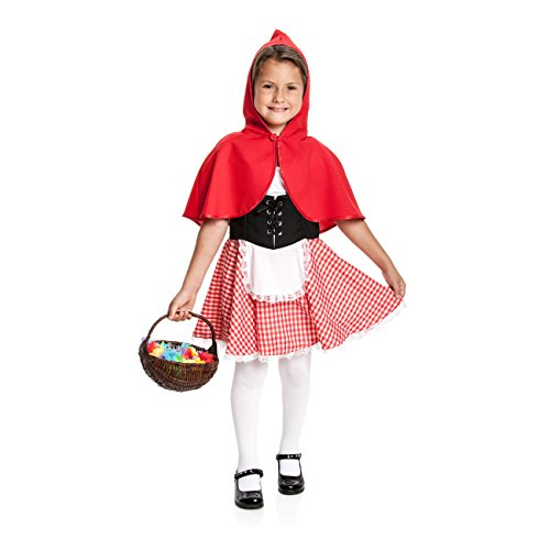 Kostümplanet® Rotkäppchen Kostüm Mädchen Kinder komplett Set Verkleidung roter Cape Schürze Kinderkostüm Märchen Outfit Faschingskostüm Größe 116