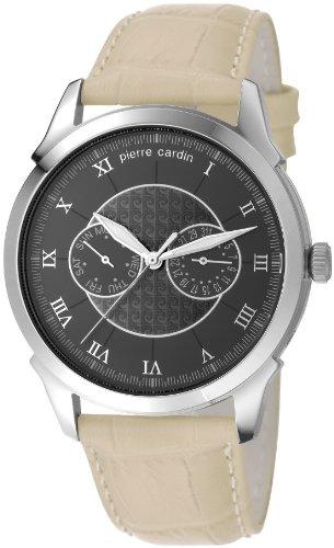 Pierre Cardin Ronde Classique - Reloj de Cuarzo para Hombre, con Correa de Cuero, Color Beige
