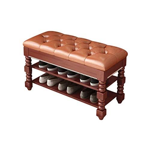 HEMFV Simplifique el banco de almacenamiento, Asamblea rápida zapato Bastidores de almacenamiento multifuncional Clamshell zapatero gabinete con asiento de cuero PU Dormitorio Baño Hotel (Color: Nogal