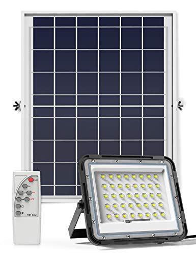 ENGREPO Solar Flood Light Outdoor Auto On/Off Dusk to Dawn with Remote Control 1500LM 80 LEDs 6000K Bright White Floodlights IP65 Waterproof Solar Power Light for Yard, Garden, Shed, Barn