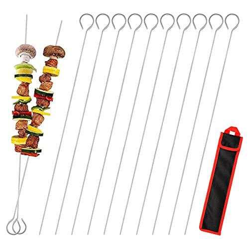 Yuccer 20 Piezas Pinchos BBQ Barbacoa Acero Inoxidable Brochetas Metalicas Pinchos Parrilla por Utensilios Barbacoa Cocina (20 Piezas)