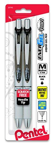 Pentel EnerGel Pearl RTX Retractable Gel Pen, 0.7mm Needle Tip, 2 Pack, Black Ink (BLN77WBP2A)