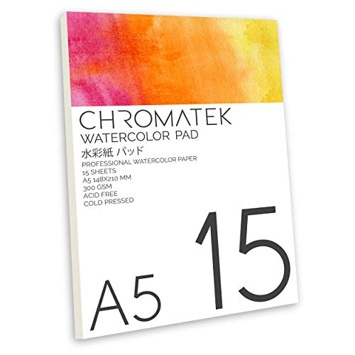 Watercolor Pad by Chromatek, 15 Sheets, 300 GSM, Cold Pressed, Acid Free, Professional Watercolor Paper