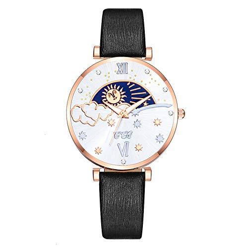AxiBa Relógio de Pulso Feminino Casual de Quartzo com Pulseira de Couro, Preto