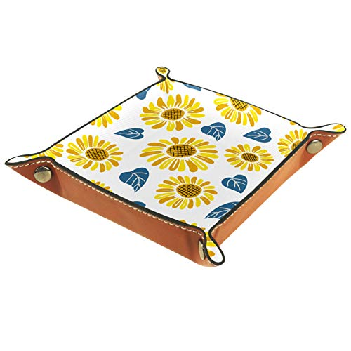 Leder Valet Tray, Würfel Tray Folding Square Holder, Kommode Organizer Platte für Change Coin Key Doodle Sonnenblumenmuster Blumen