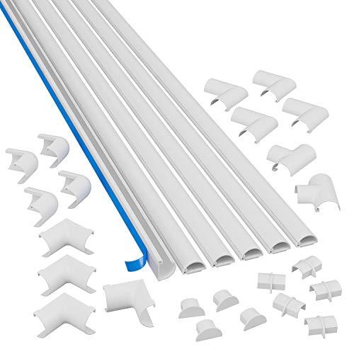 D-Line Micro+ Kabelkanal zur Kabelführung, Runder Weißer Kabelkanal, 20x10mm, 6 x 1.5 m Länge (9 meter)