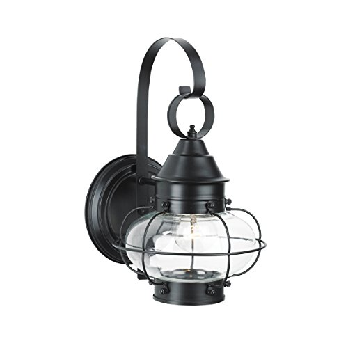 Norwell Lighting 1323-BL-CL Cottage Onion - One Light Outdoor Small Wall Mount, Glass Options: Clear Glass, Choose Finish: BL: Black