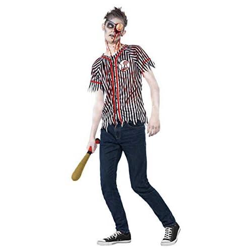 SMIFFYS Smiffy's 44334S - Costume Zombie Baseball Nero del Giocatore con Top & Eyepatch Wadded Mazza da Baseball, S