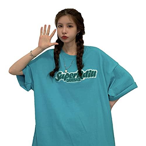 夏 韓国 tシャツ 韓国ファッション半袖tシャツ 韓国ファッション レディース 韓国 レディース tシャツ レディース 韓国 (青)
