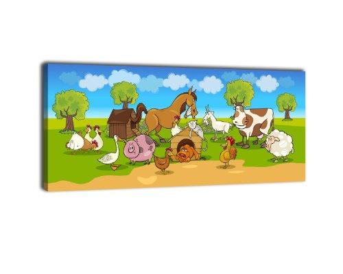 wandmotiv24 Leinwandbild Panorama Nr. 218 Verrückter Bauernhof 100x40cm, Keilrahmenbild, Bild auf Leinwand, Kinder Tiere Comic