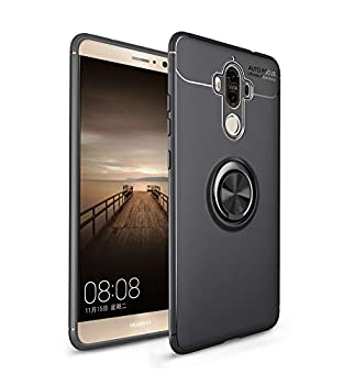 iCoverCase Compatible with Huawei Mate 9 Case,[Invisible Matal Ring Bracket][Magnetic Support] Shockproof Anti-Scratch Ultra-Slim Protective Cover Case Kickstand  Gun Black