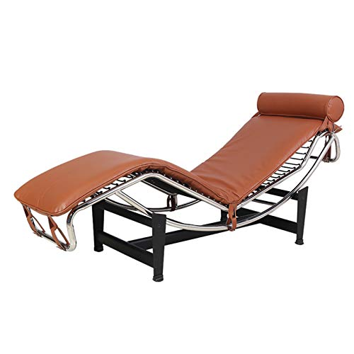 Chaise Lounge De Cuero PU, Mobiliario Urbano - Chaise Lounge LC4 Estilo Le Corbusier - Cuero Anilina para Dormitorio, Sala De Estar, Salón, Oficina, 60.6 * 22 * 24.5',A