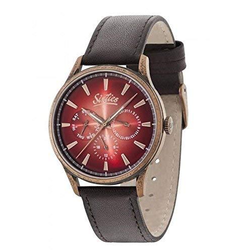 Sixties Armbanduhr Unisex – Quarz Herrenuhr und Damenuhr analog und wasserdicht mit Lederarmband Exklusiver 60er Jahre Stil für Modebewusste mit dem gewissen Extra
