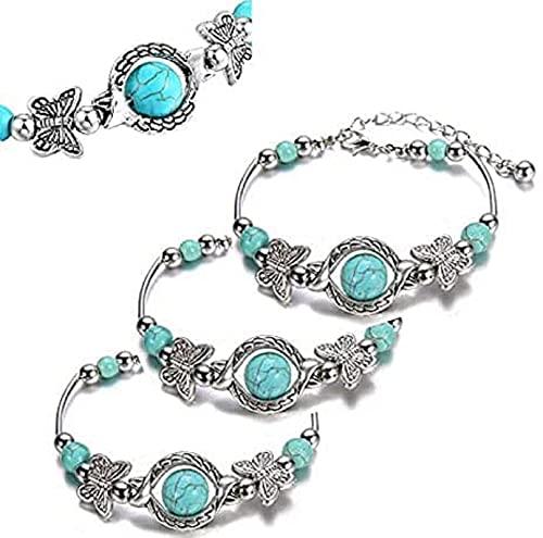 TPC 2 Pcs Turquoise Bracelets For Women,Butterfly Bracelets For Womens,Women