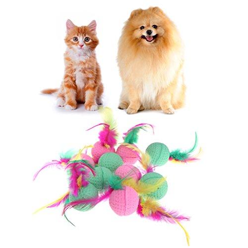 Guoyy - Pelotas de látex para mascotas, 10 unidades, coloridas para masticar perros, gatos, cachorros, gatitos, plumas suaves
