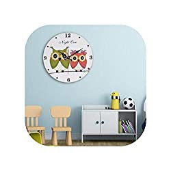 Wall Clock Owl Clocks Multicolor Cute Cartoon Sweep Mute Watch Bedroom of Children Room,3,40Cm