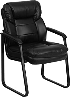 Flash Furniture Black Leather Executive Side Reception Chair with Lumbar Support and Sled Base