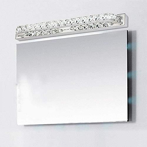 LOKKRG Luz de Espejo de baño, Luces de tocador led, Vidrio de Cristal, Luces de tocador de Acero Inoxidable sobre Espejo, luz cálida/luz Blanca, luz blanca-40cm