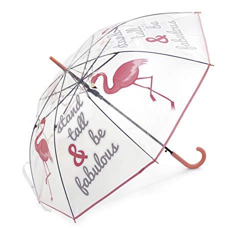 Zaska Parapluie Automatique Flament Rose En Polyester Blanc 58Cm Paraguas clásico, 70 cm, Blanco (Blanc)