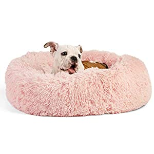 Best Friends by Sheri The Original Calming Donut Cat and Dog Bed in Shag Fur, Machine Washable, for Pets up to 25 lbs. – Small 23″x23″ in Cotton Candy Pink