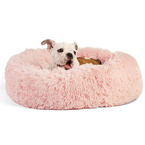 Best Friends by Sheri The Original Calming Donut Cat and Dog Bed in Shag Fur Machine Washable for Pets up to 25 lbs  Small 23quotx23quot in Cotton Candy Pink