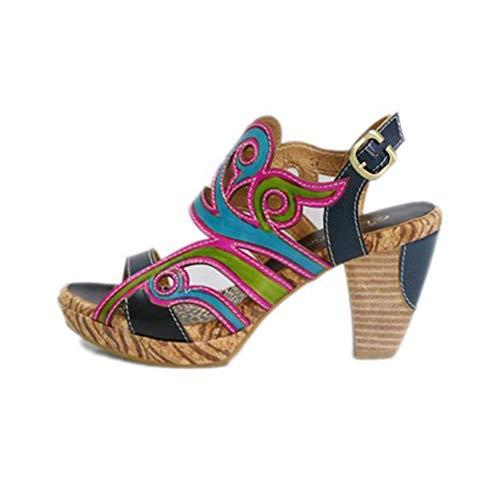 Damen Peep Toe Schuhe, Knöchel Gürtel Hasp Sandalen Ethnischer Stil Leder High Heel Schuhe Handgefertigte Anti-Rutsch-Schuhe Bankett Bar,Denim Blue-37