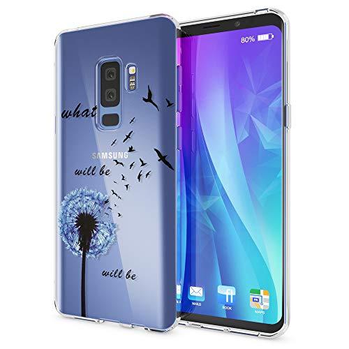 NALIA Handyhülle kompatibel mit Samsung Galaxy S9 Plus, Slim Silikon Motiv Hülle Crystal Schutzhülle Dünn Durchsichtig, Etui Handy-Tasche Back-Cover Transparent Bumper, Designs:Dandelion Blau