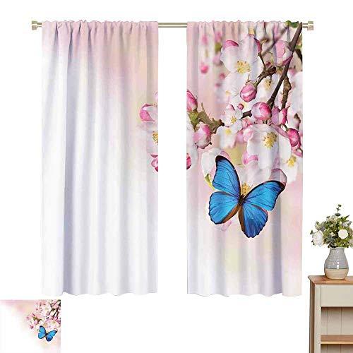 Cortinas opacas con bolsillo de varilla para dormitorio, moderno, mariposa azul en primavera, flores de cerezo, flor japonesa, blanco, rosa, huerto, naturaleza, azul, rosa pastel, cortinas, paneles co