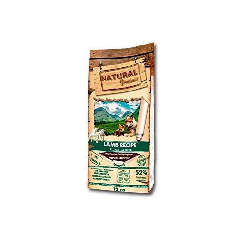 Natural Greatness - Pienso Natural Sin Cereales de Cordero para Perros Todas Las Edades con digestiones sensibles HIPOALERGENICO Saco 12 kg | ANIMALUJOS