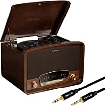 Electrohome Kingston 7-in-1 Vintage Vinyl Record Player Stereo System with 3-Speed Turntable, Bluetooth, AM/FM Radio, CD, Aux in, RCA/Headphone Out with Bonus 3.5mm Aux Cable (RR75)