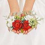 IYOU Nupcial Ramillete de Muñeca rojo Boda Muñeca Flor Paseo Boda Mano Flor por Novia y Dama de honor