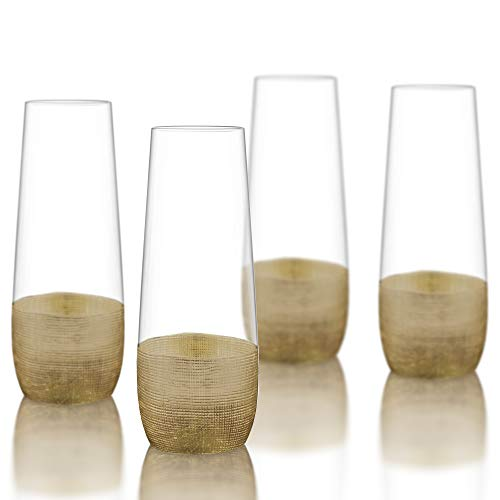 Fitz and Floyd Linen Stemless Champagne Flutes, Set of 4