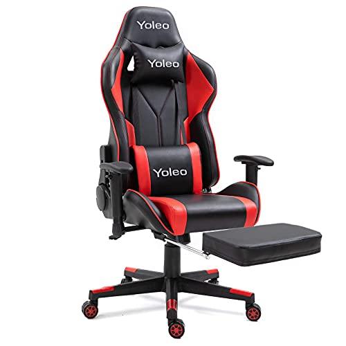Dripex Gaming-Stuhl, ergonomischer Bürostuhl, verstellbar, Drehgelenk, Leder, Rennsport, Computer-Schreibtischstuhl mit Lendenwirbelstütze und Kopfstütze für Erwachsene und Kinder (rot, mit Fußstütze)