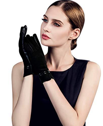 YISEVEN Guantes de piel de cordero para mujer, delgados, elegantes, forro polar, cálidos, para invierno, accesorios de vestir, conducir, trabajo, negro, talla L