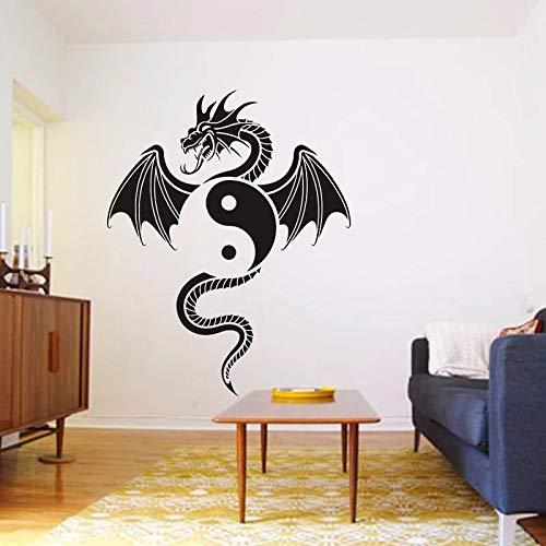 HGFDHG Ying Yang Pegatina dragón decoración del hogar Vinilo Sala de Estar Dormitorio Pared Pegatina TV Fondo