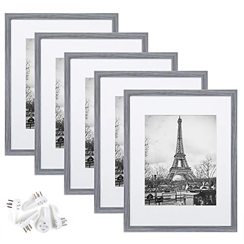 upsimples 11x14 Picture Frame Set of 5,Display Pictures 8x10 with Mat or 11x14 Without Mat,Wall Gallery Photo Frames,Ash Gray