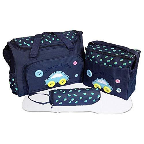 xcluma Baby Diaper Nappy Changing Baby Diaper Bag Mother Bag Mummy Bag Handbag (4 Pcs Set -Dark Blue)