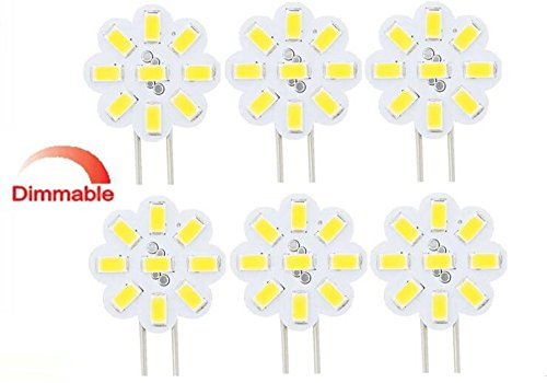 Best to Buy® Lot de 6 LED G4 2 W 12 V – 24 V AC/DC 9 x 5630SMD Intensité variable Blanc chaud 120 ° rond a + +