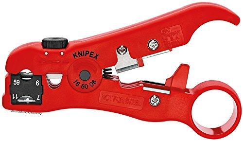 KNIPEX Abisolierwerkzeug für Koaxial- und Datenkabel (125 mm) 16 60 06 SB (Produkt auf SB-Karte/im Blister)