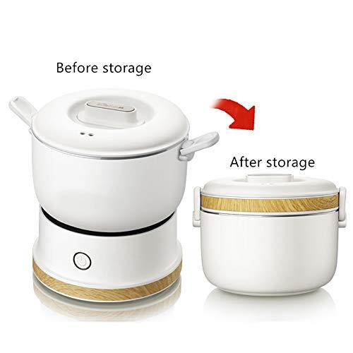 Mijoteuse mécanique Disponible électrique portatif multi Cuisinière Mini Hot Pot pour l'école Voyage Bureau,Blanc