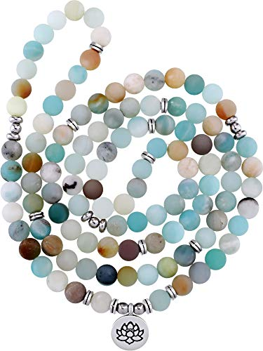 Tatuo Collar de Mala Amazonita de 8 mm con cuentas de piedras preciosas naturales con 108 cuentas redondas para hombres y mujeres