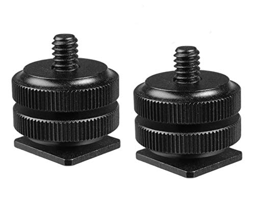(2 Packs) Fotasy Hot Shoe to 1/4 Adapter, Camera Hot Shoe Mount Adapter, Flash Shoe to 1/4'-20 Male Post Adapter with Locking Disk