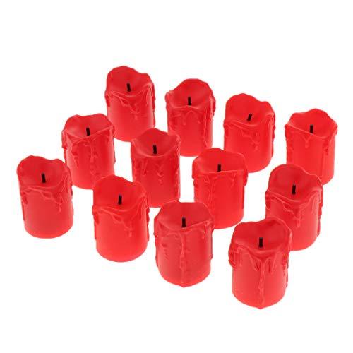 Fenteer Électriques Led Bougie Véritable Scintillement Vacillant Table - rouge