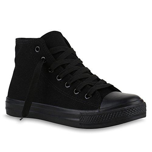 stiefelparadies Damen Sneakers High Top Sportschuhe Stoffschuhe Freizeit Schnürer 140023 Schwarz Schwarz 37 Flandell