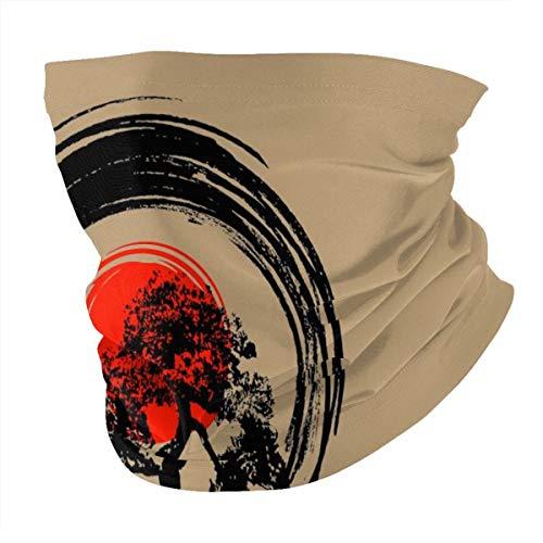 Bonsai Tree Japanese Calligraphy Bandana Face Cover Headwear Dust Wind Sun UV Protection Face Mask Cooling Neck Gaiter Head Wrap Headband Balaclava Magic Scarf for Women Men Outdoors Black