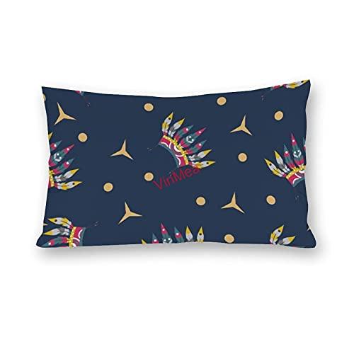 VinMea Fundas de almohada lumbar, bonito patrón de algodón, fundas de almohada para sofá, hogar, oficina, decoración de 50 x 60 cm